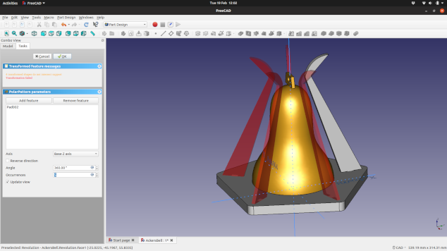 Screenshot of the new Ackers Bell design in FreeCAD