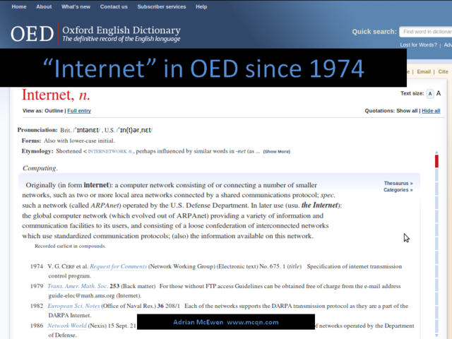 'Internet' in OED since 1974