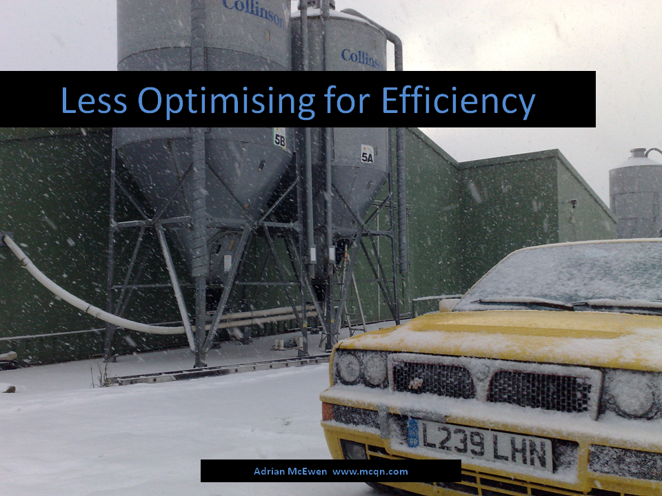Less Optimising for Efficiency