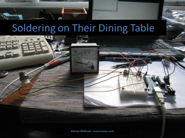 Soldering on Their Dining Table