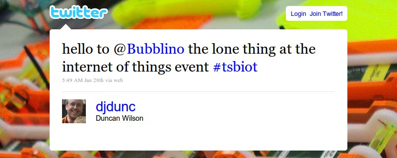 hello to @Bubblino the lone thing at the internet of things event #tsbiot