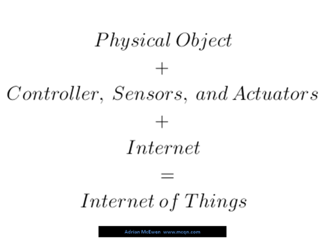 Physical Object + Controller, Sensors, and Actuators + Internet = Internet of Things