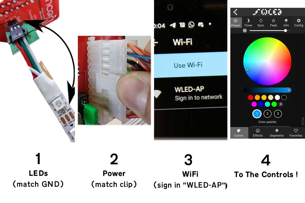 1: LEDs (match GND). 2: Power (match clip). 3: WiFi (sign in to WLED-AP). 4: To the controls!